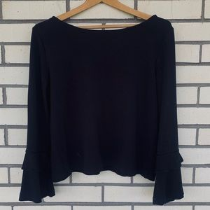 Ann Taylor Black Bell Sleeve Top